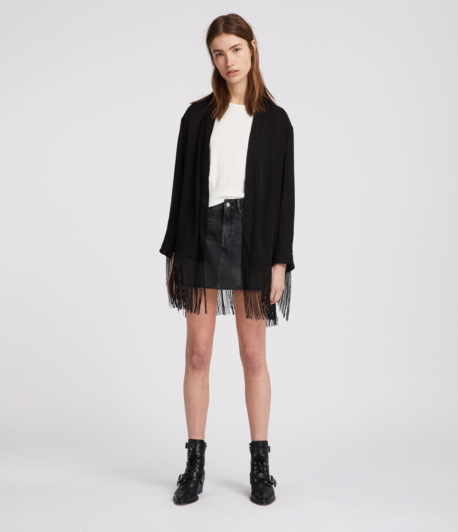 Womens Tassel Kimono (black) - Image 5