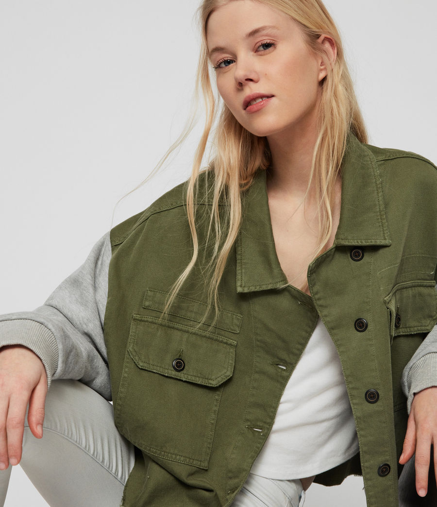 Womens Morten Denim Jacket (khaki_green) - Image 4