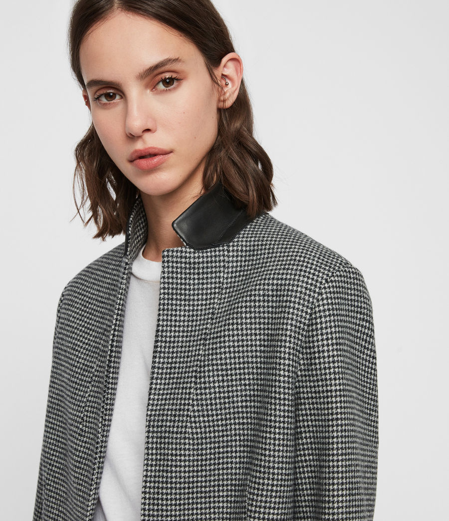 Womens Leni Puppytooth Coat (black_white) - Image 2