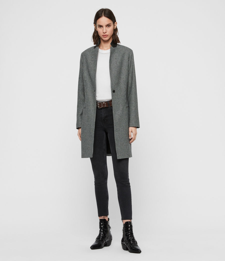 Women's Leni Puppytooth Coat (black_white) - Image 3