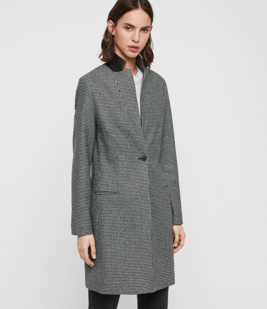 Womens Leni Puppytooth Coat (black_white) - Image 4