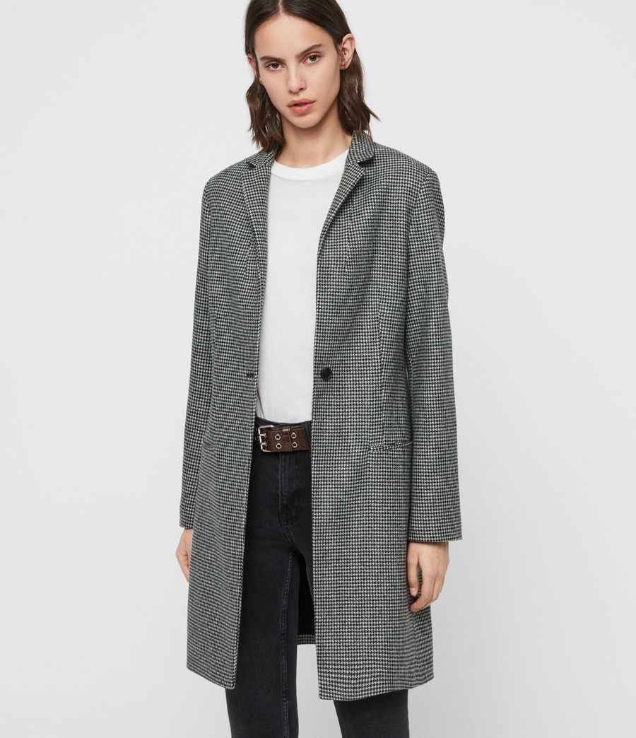 Womens Leni Puppytooth Coat (black_white) - Image 5
