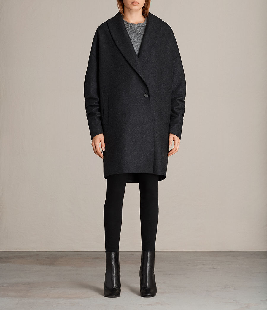 Women's Kenzie Ruche Coat (charcoal_grey) - Image 1