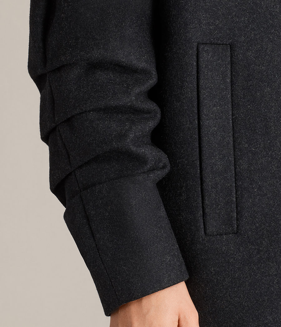 Women's Kenzie Ruche Coat (charcoal_grey) - Image 2