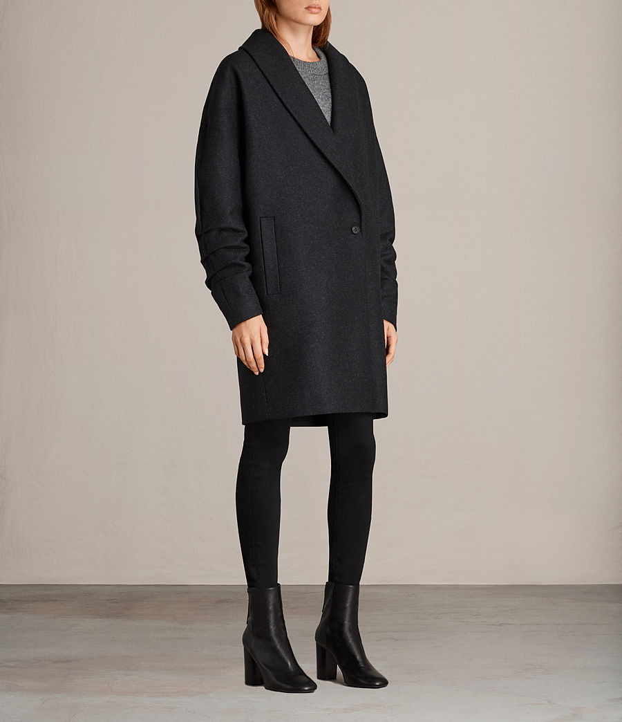 Women's Kenzie Ruche Coat (charcoal_grey) - Image 3