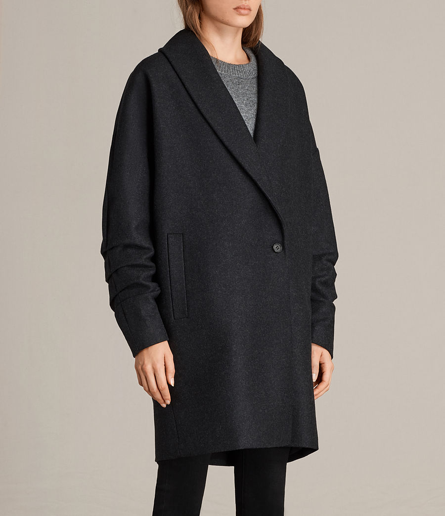 Women's Kenzie Ruche Coat (charcoal_grey) - Image 4
