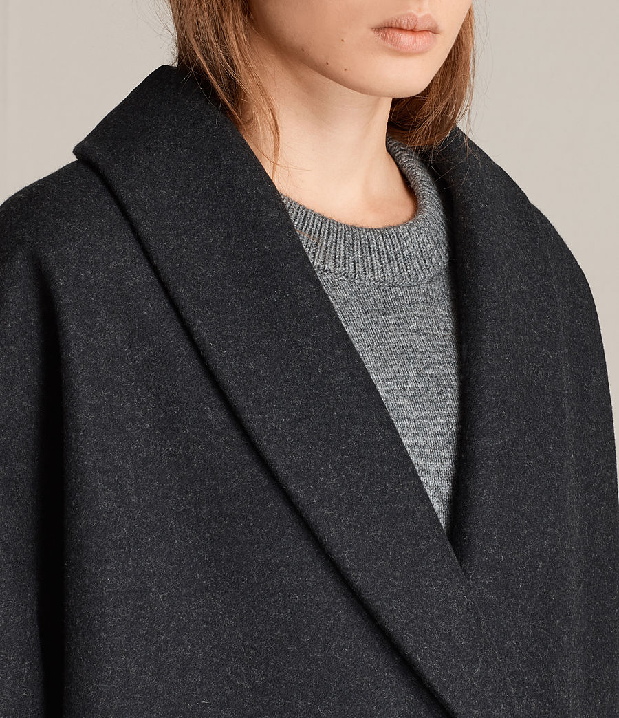 Women's Kenzie Ruche Coat (charcoal_grey) - Image 5