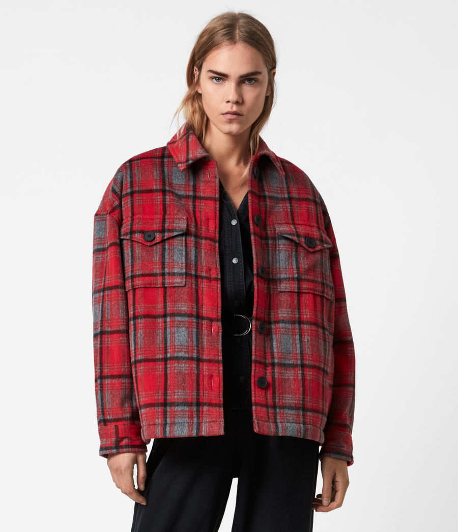 Women's Luella Wool Blend Sherpa-Lined Check Jacket (red_black) - Image 1