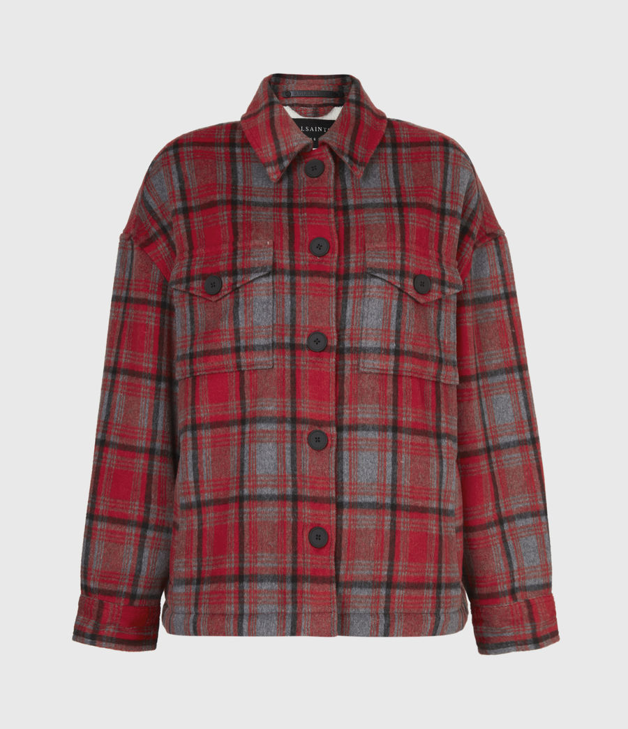 Women's Luella Wool Blend Sherpa-Lined Check Jacket (red_black) - Image 2