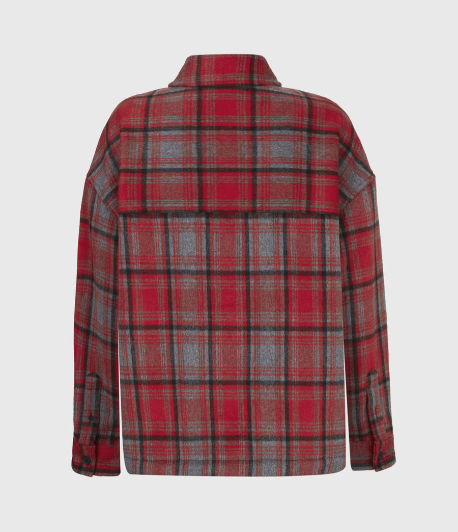 Women's Luella Wool Blend Sherpa-Lined Check Jacket (red_black) - Image 3
