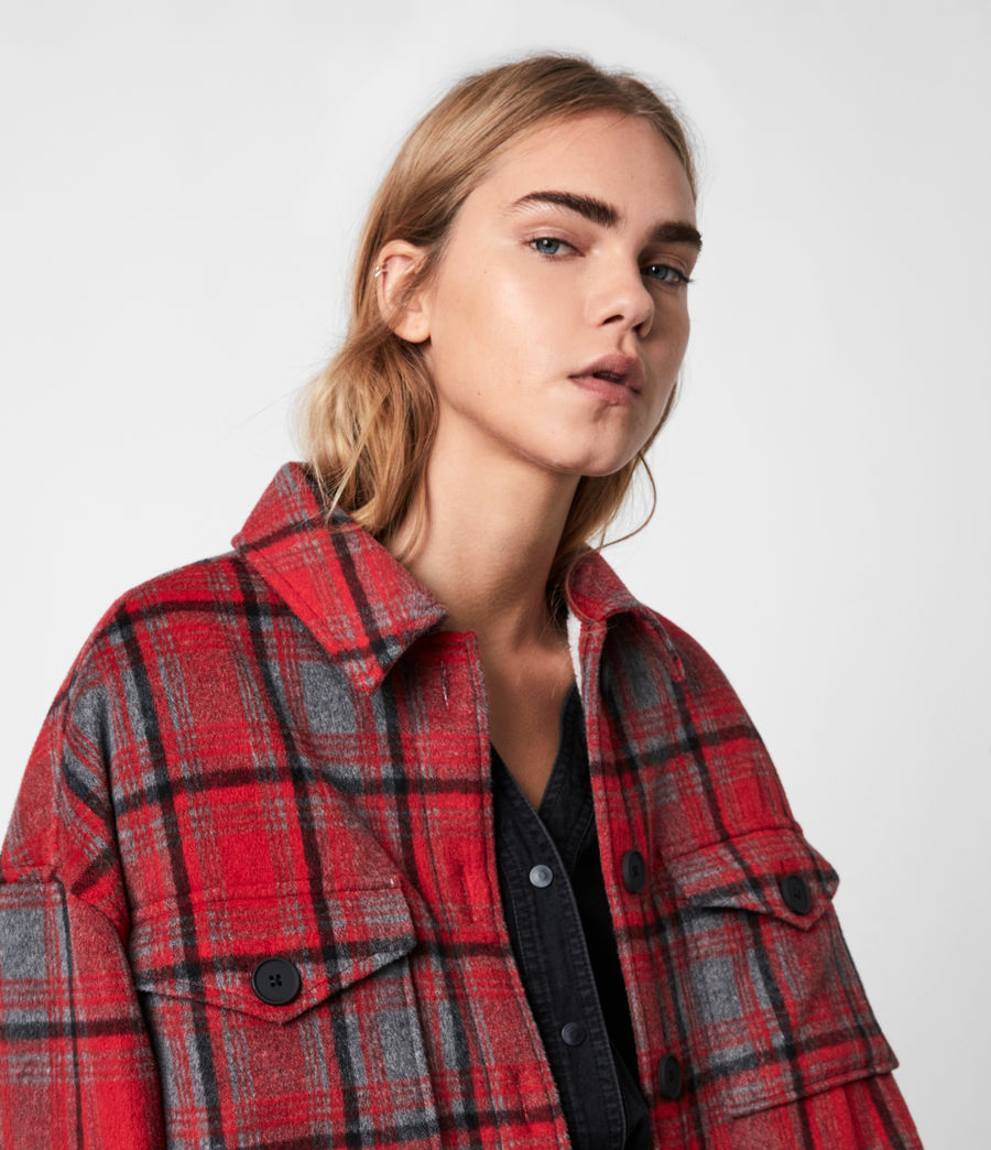 Women's Luella Wool Blend Sherpa-Lined Check Jacket (red_black) - Image 4