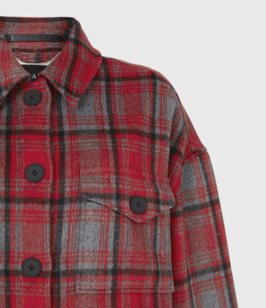 Women's Luella Wool Blend Sherpa-Lined Check Jacket (red_black) - Image 5