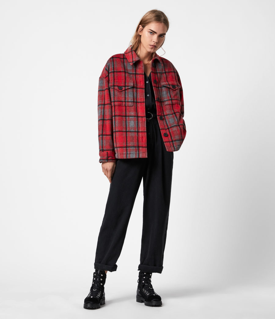 Women's Luella Wool Blend Sherpa-Lined Check Jacket (red_black) - Image 6