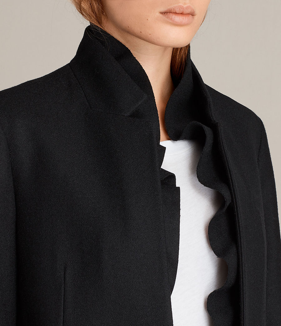 Womens Mae Ruffle Coat (black) - Image 2