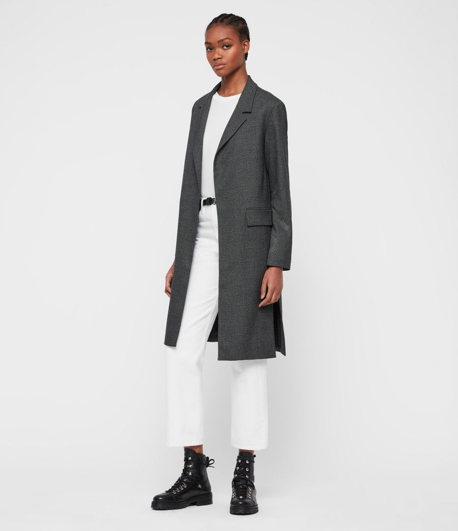 Women's Aleida Check Duster Coat (grey_black) - Image 1