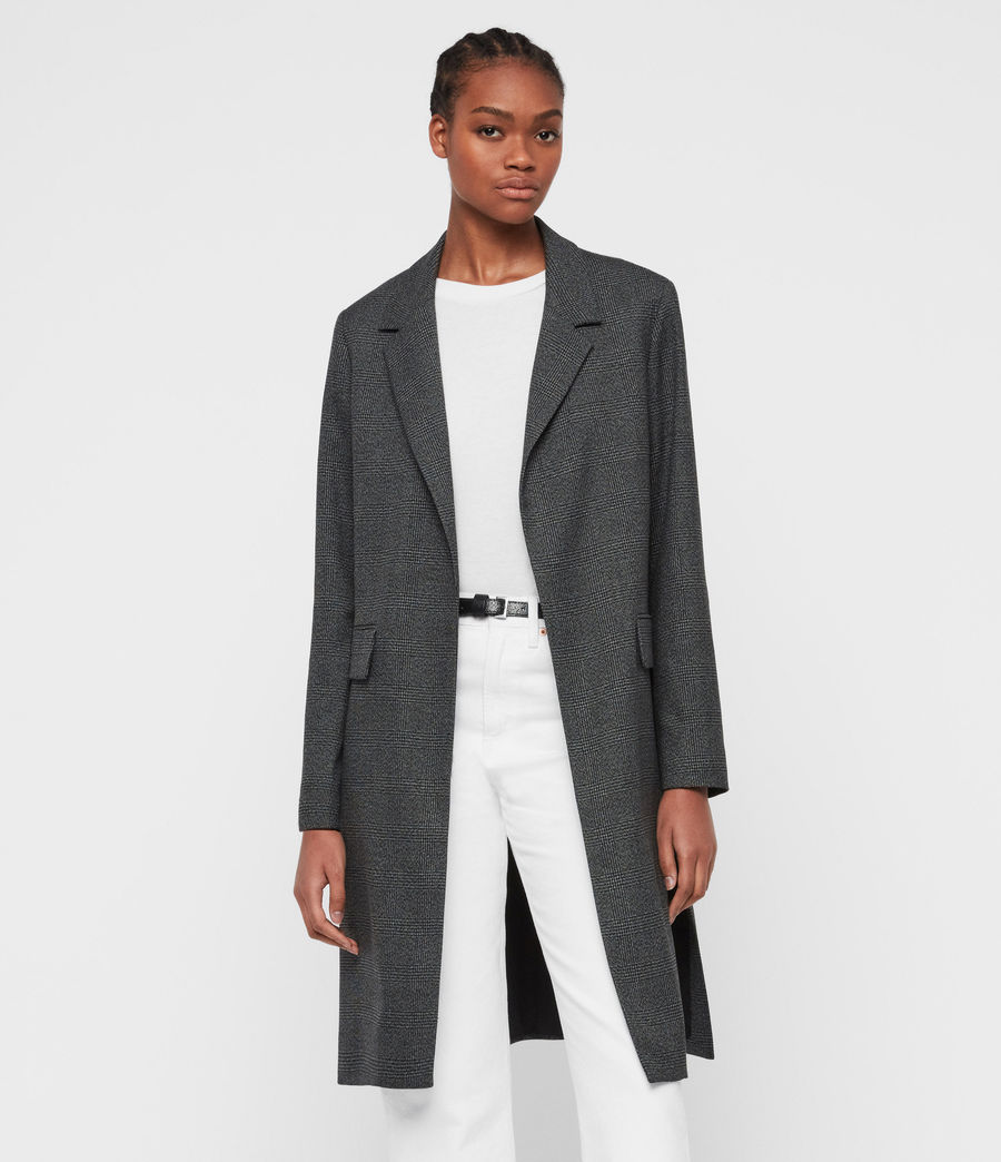 Women's Aleida Check Duster Coat (grey_black) - Image 2