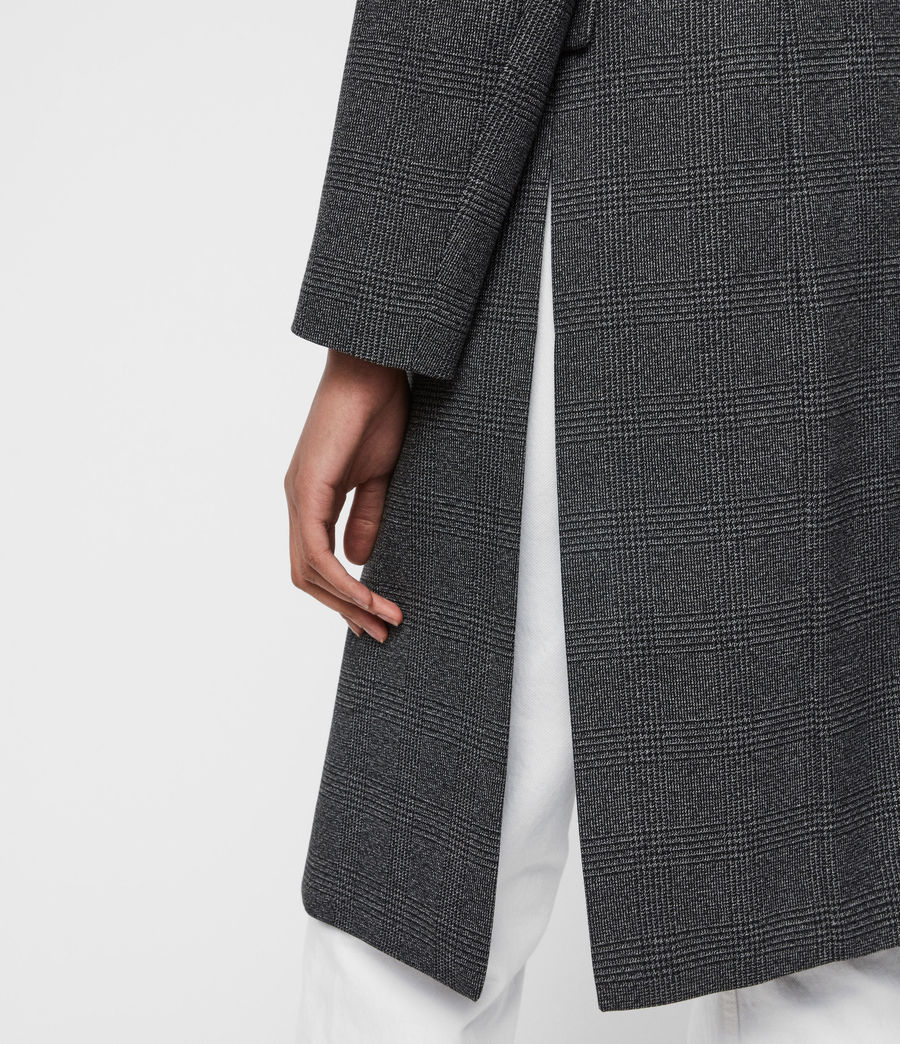 Women's Aleida Check Duster Coat (grey_black) - Image 4