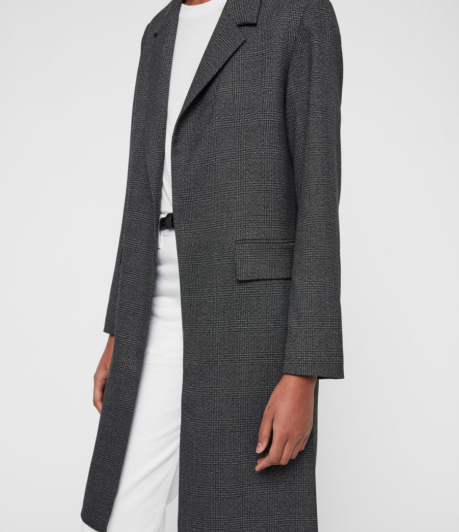 Womens Aleida Check Duster Coat (grey_black) - Image 5