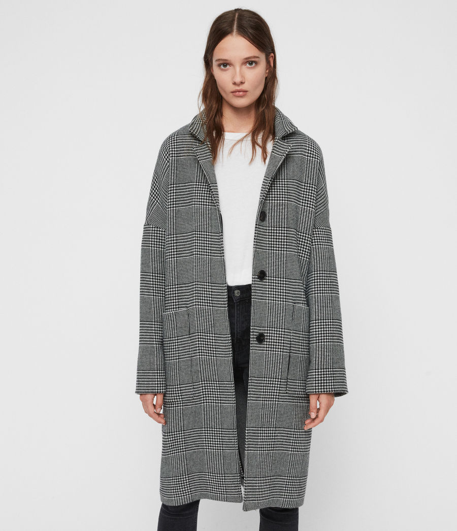Womens Teya Check Coat (black_white) - Image 1