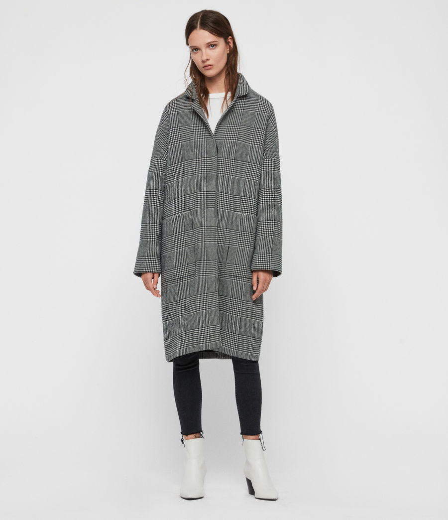 Womens Teya Check Coat (black_white) - Image 2