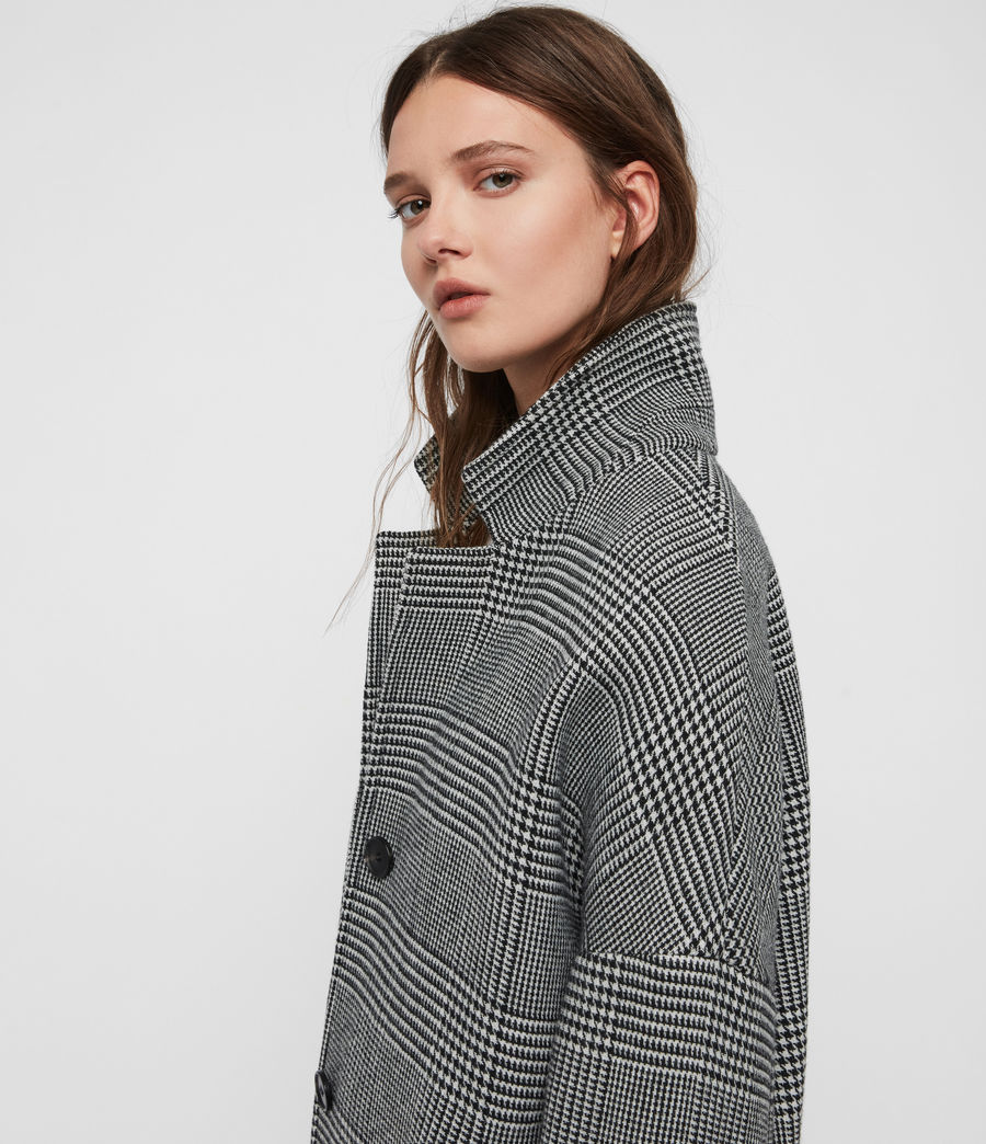 Womens Teya Check Coat (black_white) - Image 3