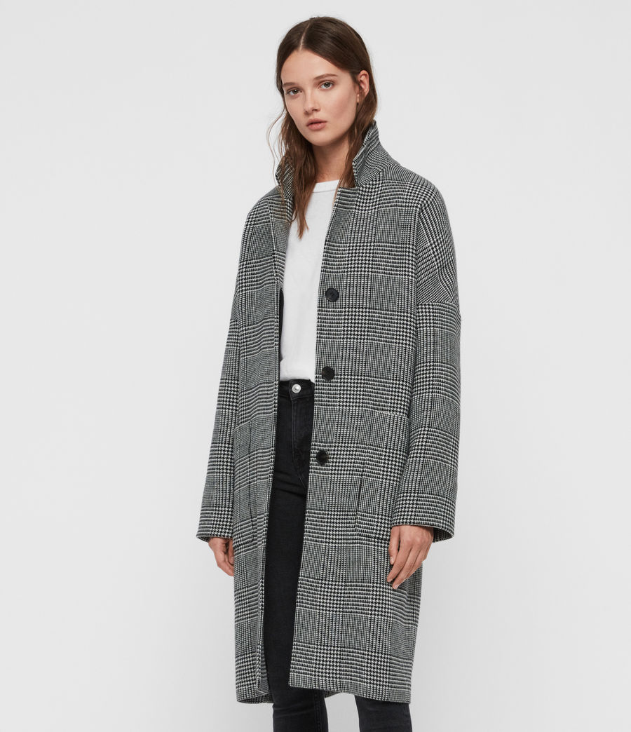 Womens Teya Check Coat (black_white) - Image 4
