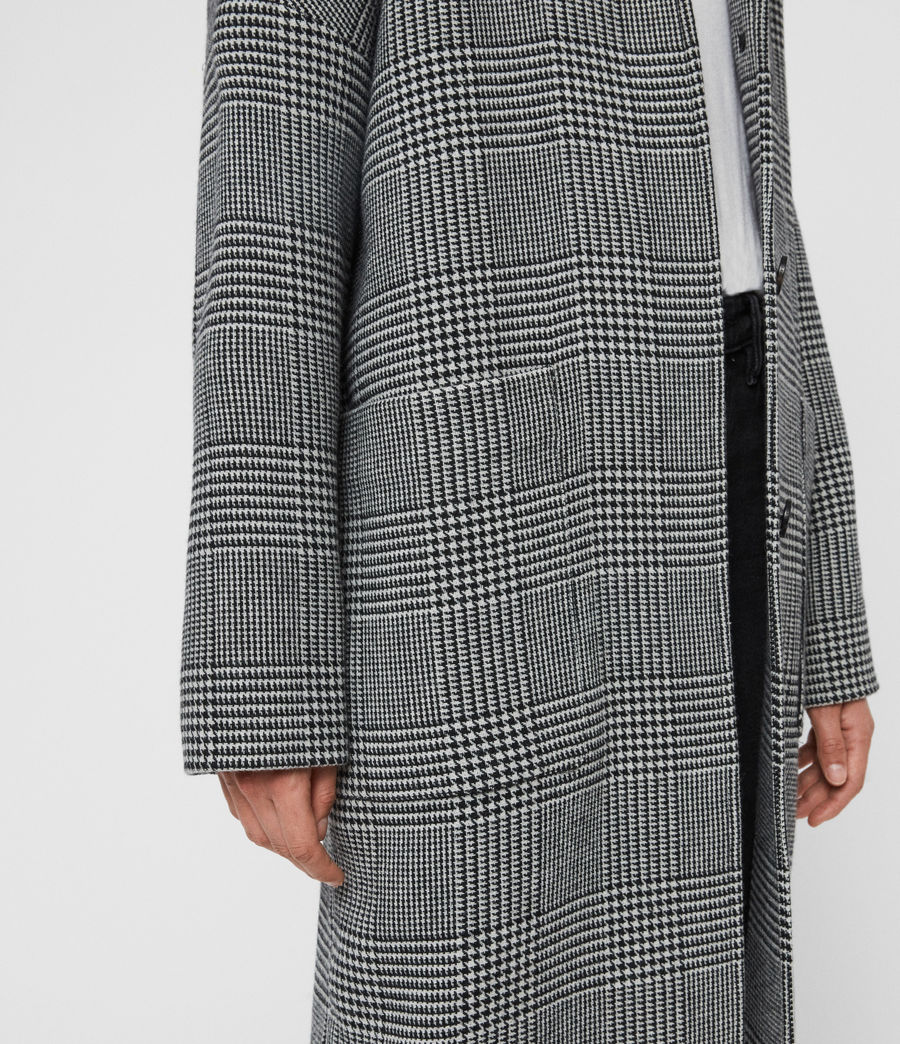 Womens Teya Check Coat (black_white) - Image 5