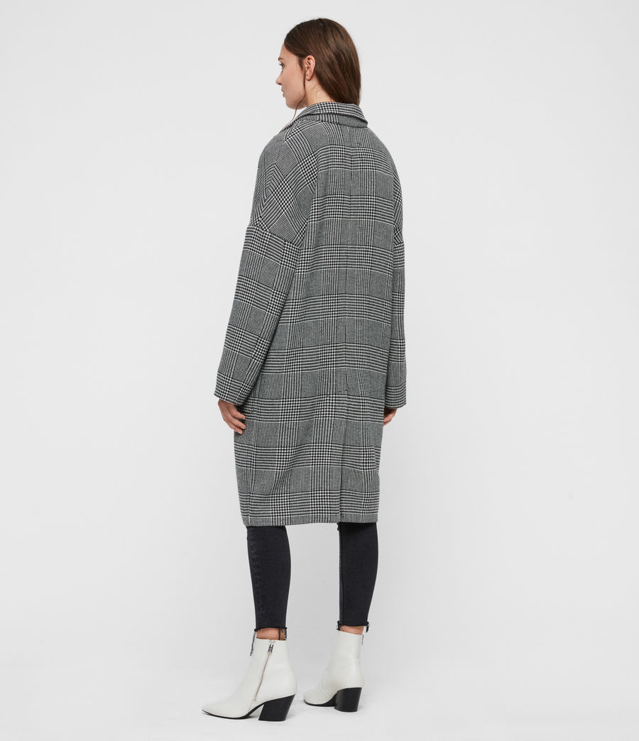 Womens Teya Check Coat (black_white) - Image 6
