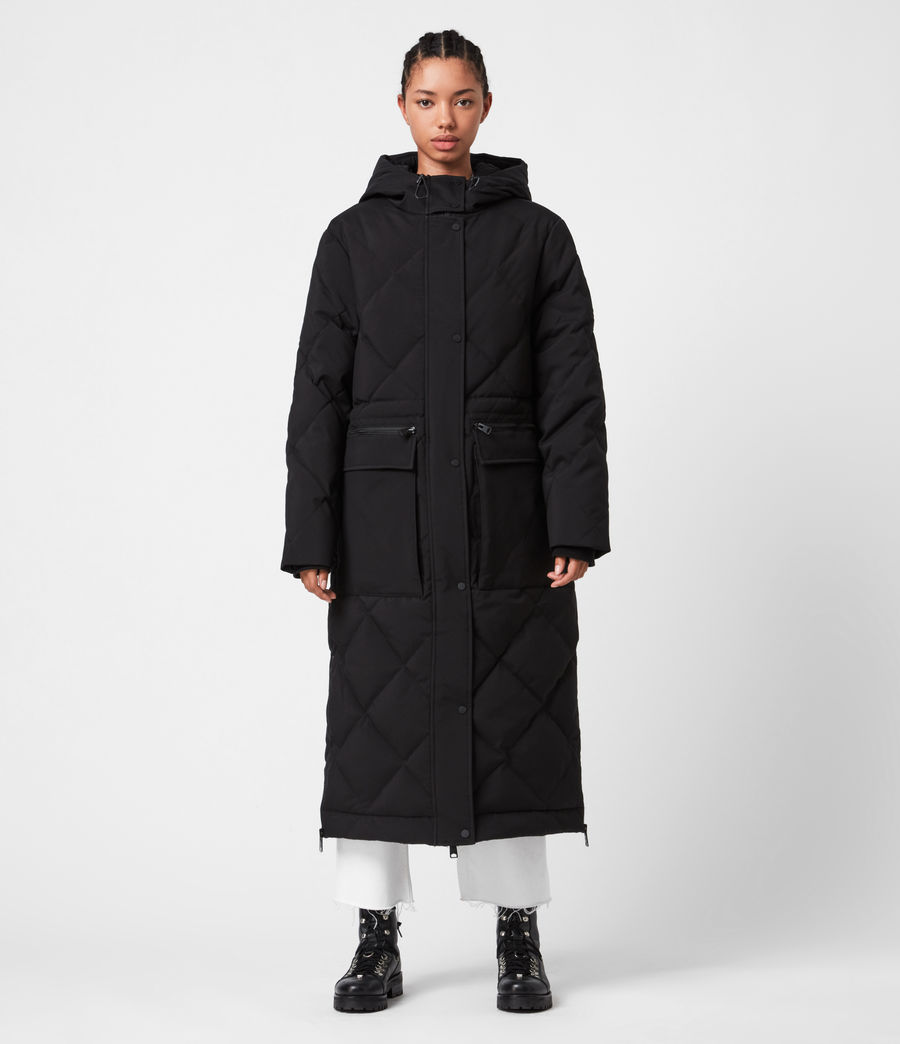 Womens Lucie Puffer Coat (black) - Image 4