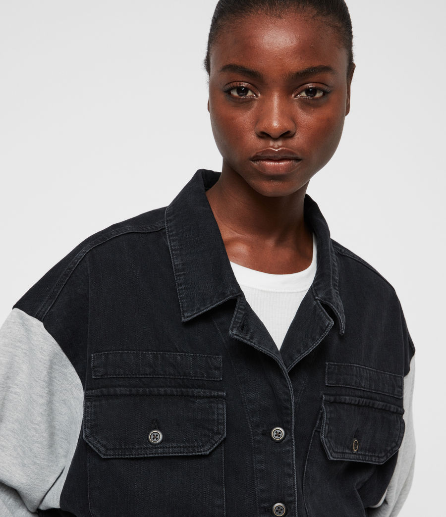 Women's Morton Military Denim Jacket (black) - Image 2