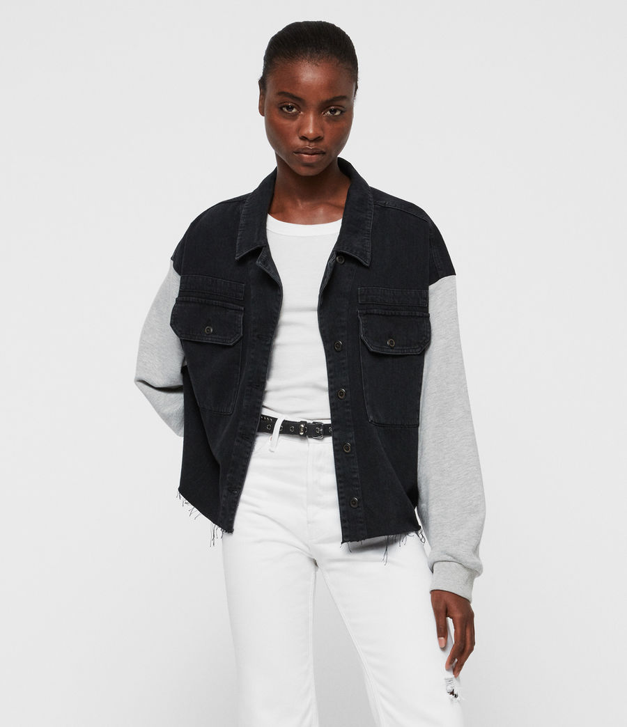 Women's Morton Military Denim Jacket (black) - Image 3