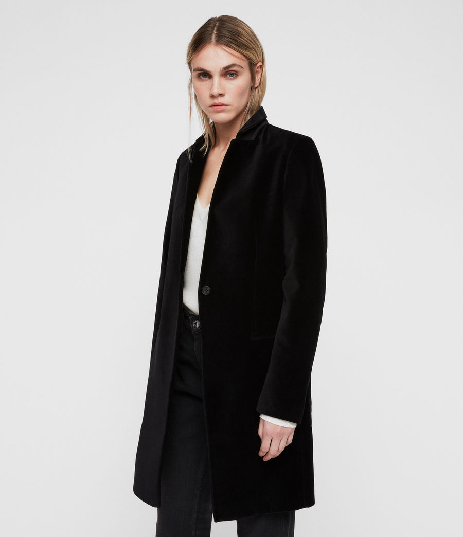 Damen Leni Samt Mantel (black) - Image 4