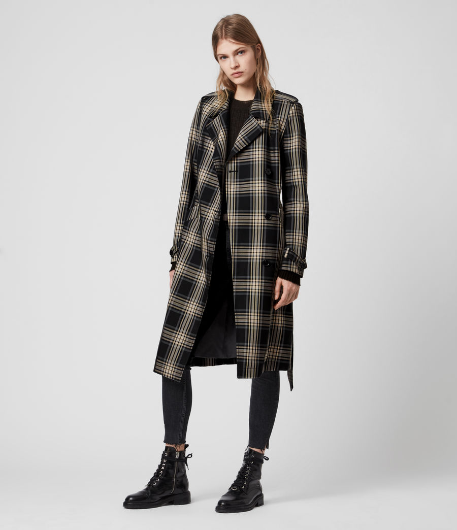Mujer Chiara Check Trench Coat (black_chalk_white) - Image 1