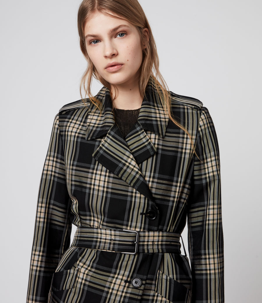 Mujer Chiara Check Trench Coat (black_chalk_white) - Image 2