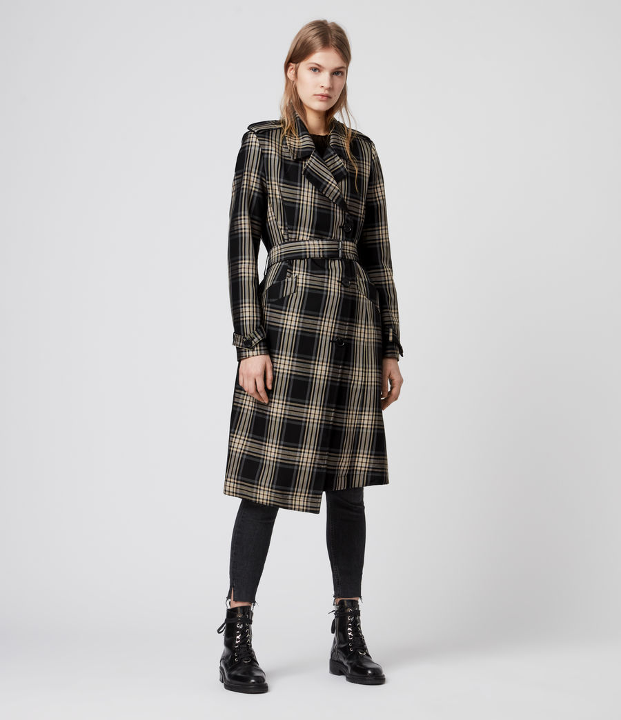 Mujer Chiara Check Trench Coat (black_chalk_white) - Image 4