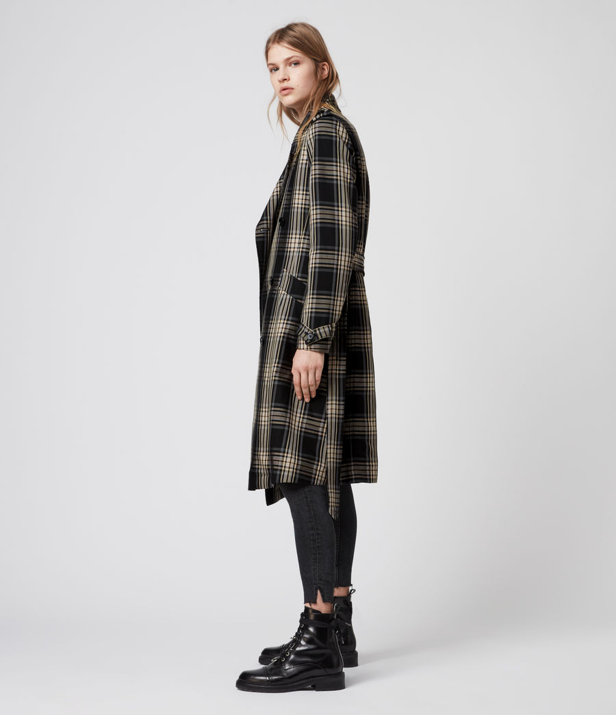 Mujer Chiara Check Trench Coat (black_chalk_white) - Image 5