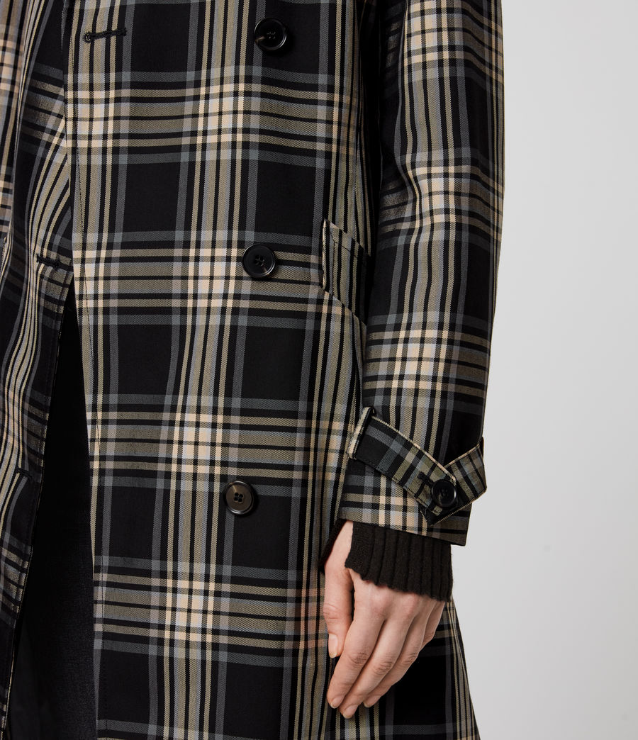 Women's Chiara Check Trench Coat (black_chalk_white) - Image 6