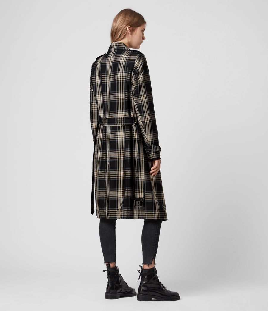 Mujer Chiara Check Trench Coat (black_chalk_white) - Image 7