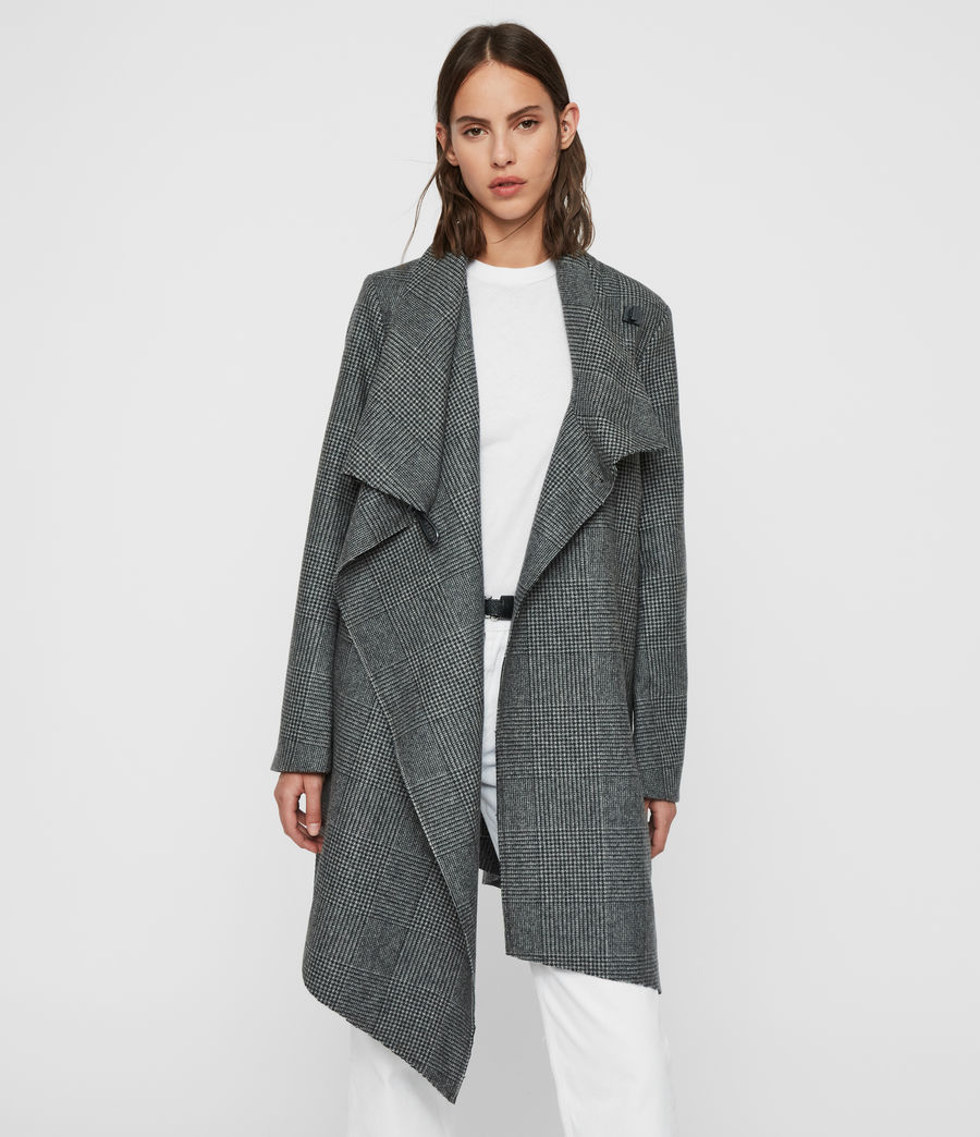 Womens Monument Check Coat (black_white) - Image 1