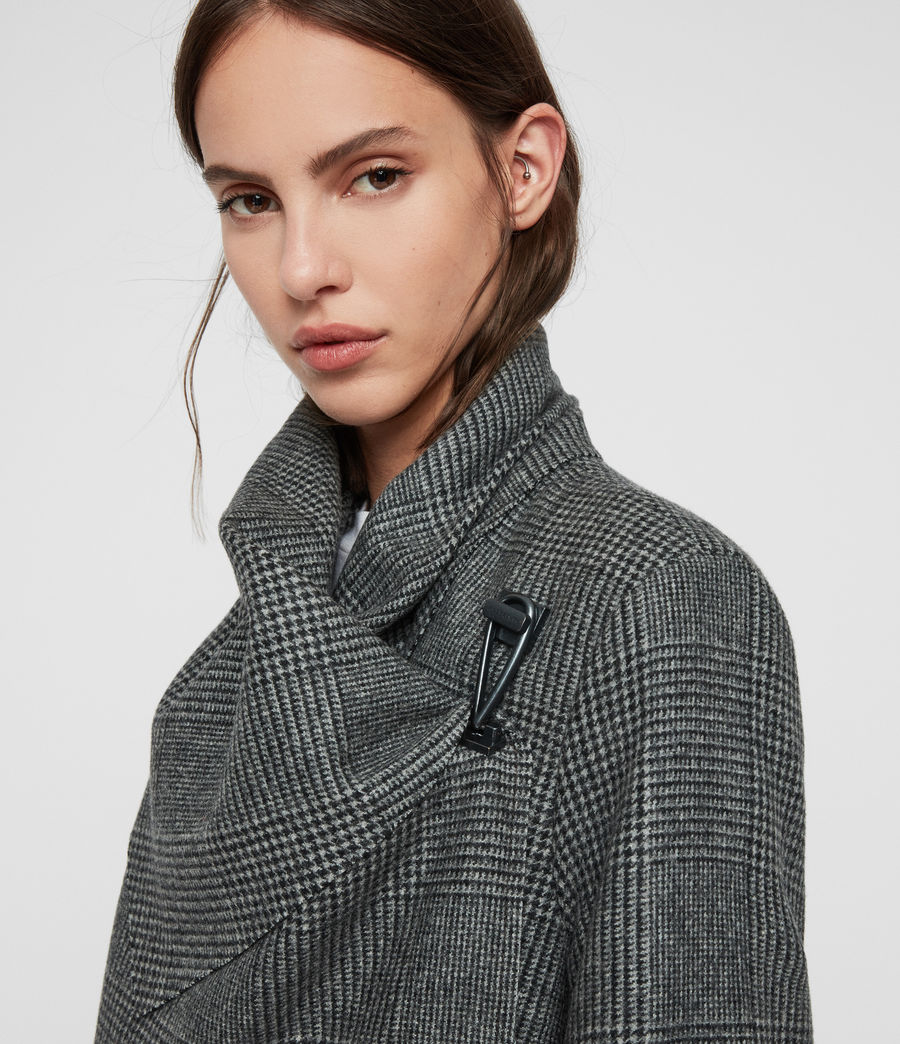 Women's Monument Check Coat (black_white) - Image 3