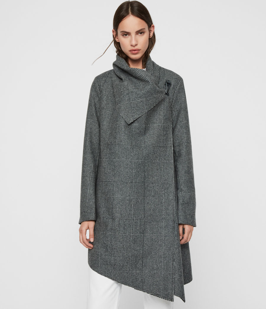 Womens Monument Check Coat (black_white) - Image 2