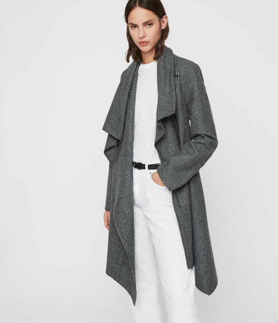 Women's Monument Check Coat (black_white) - Image 6