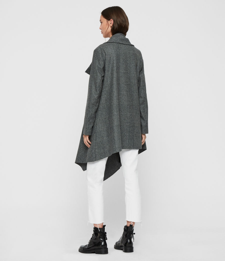 Women's Monument Check Coat (black_white) - Image 7