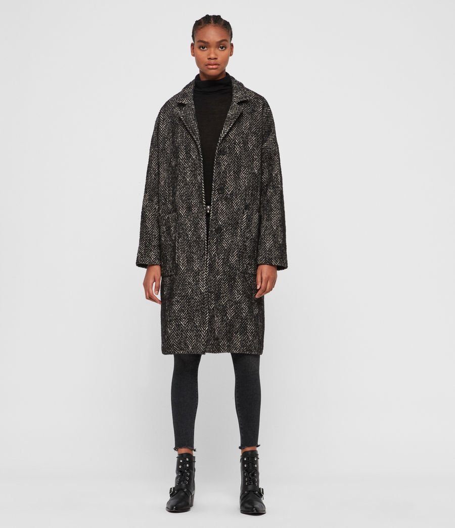 Women's Teya Herringbone Coat (black_white) - Image 1