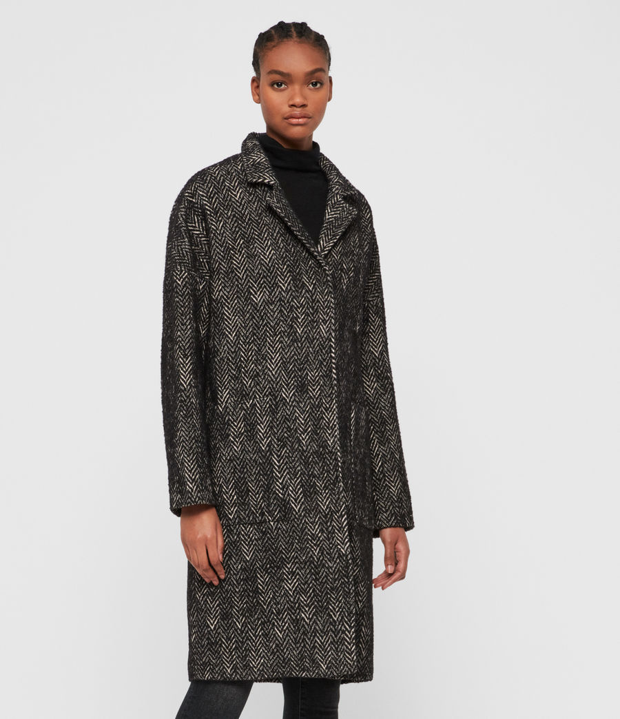 Women's Teya Herringbone Coat (black_white) - Image 2