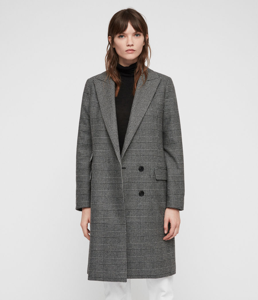 Women's Paityn Check Coat (pale_grey) - Image 1