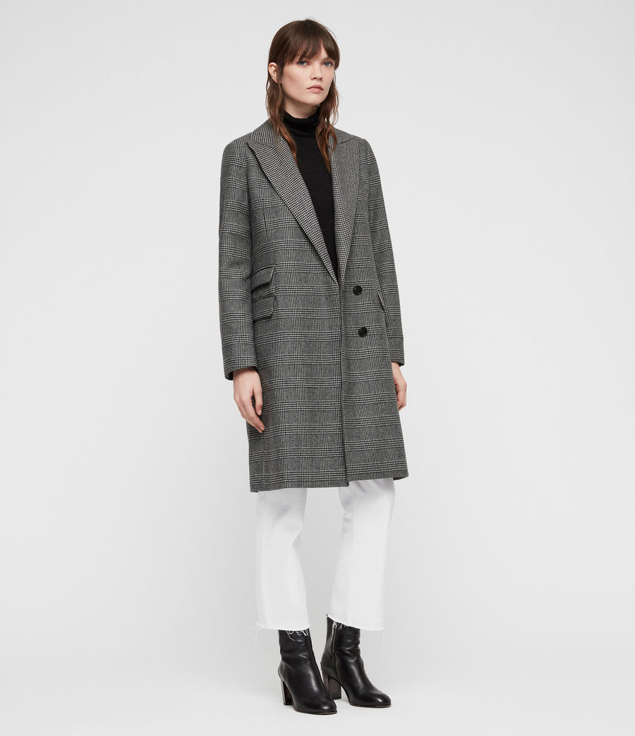 Women's Paityn Check Coat (pale_grey) - Image 3