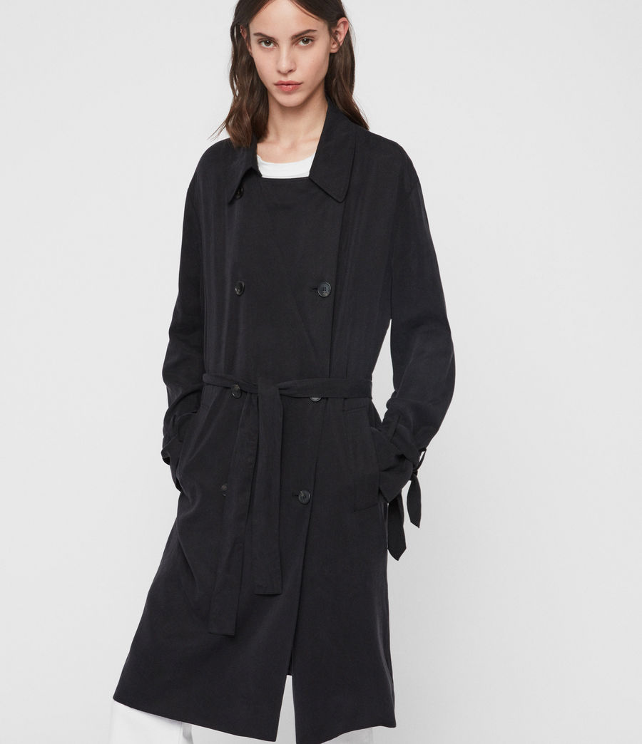 Womens Ria Trench Coat (ink_blue) - Image 3