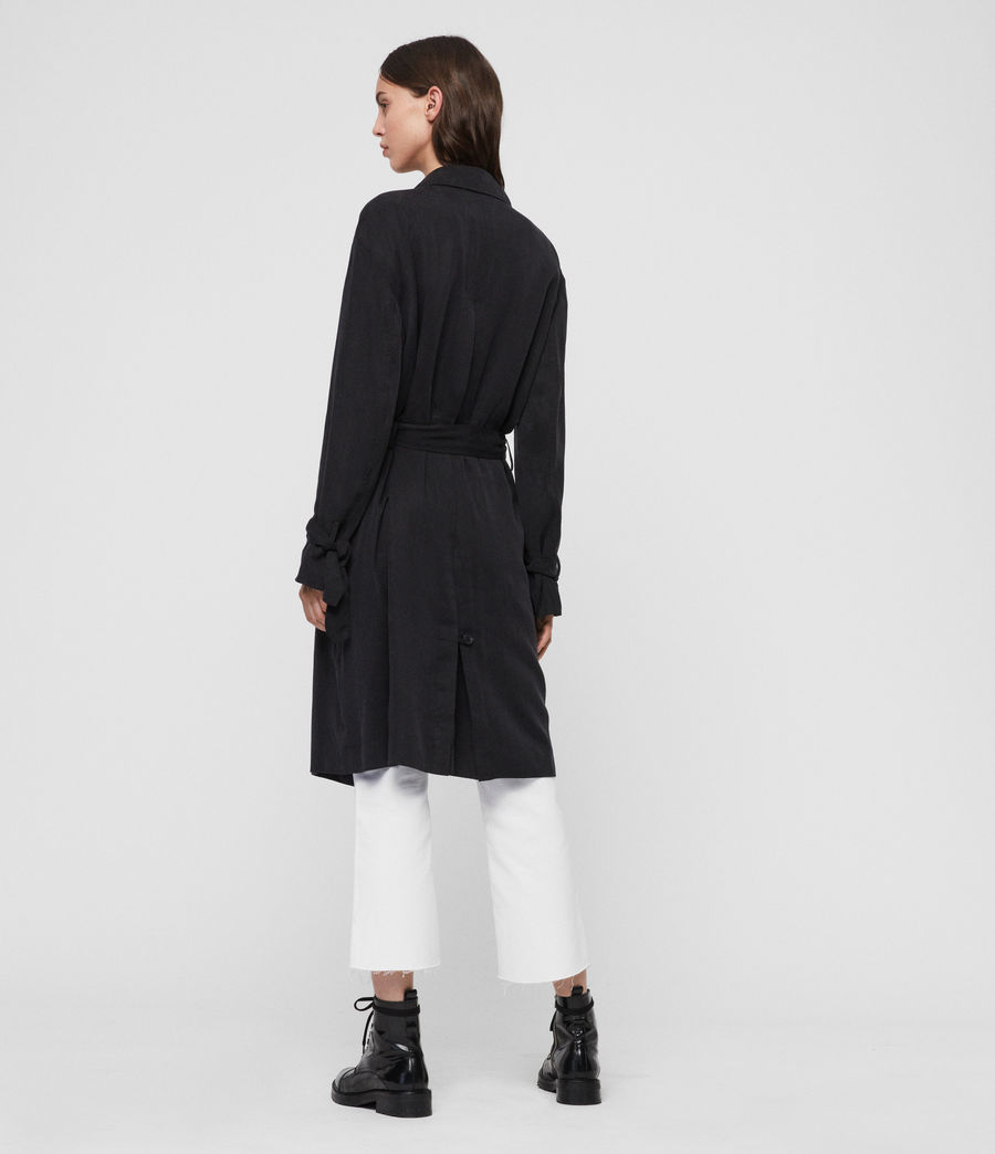 Womens Ria Trench Coat (ink_blue) - Image 6