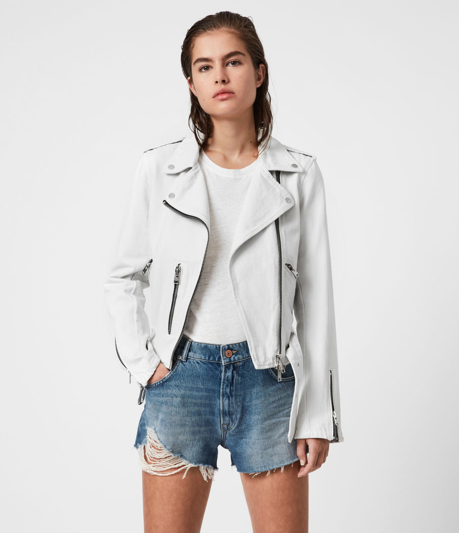 Womens Balfern Denim Biker Jacket (stone_white) - Image 1